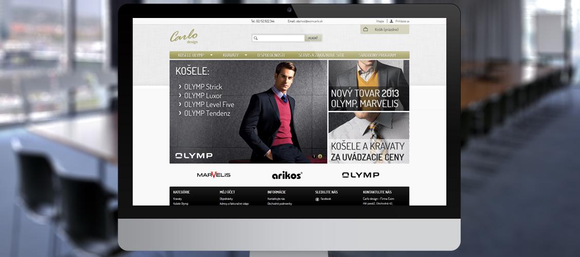Grafický návrh internetového obchodu www.eximcarlo.sk